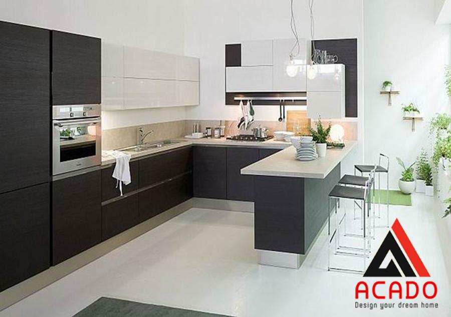 Tủ bếp với thiết kế dáng chữ U sang trọng, đẳng cấp