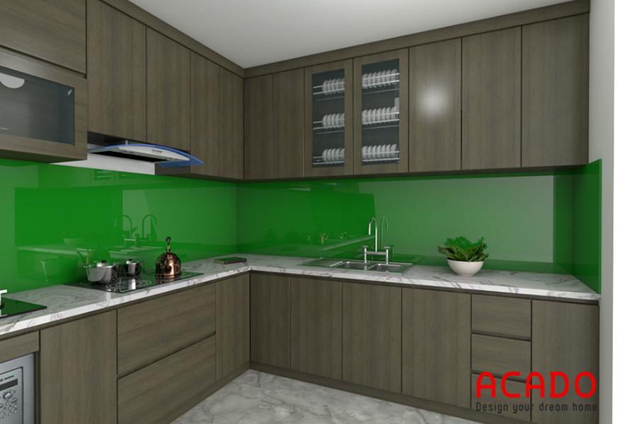 Tủ bếp Laminate màu vân gỗ.