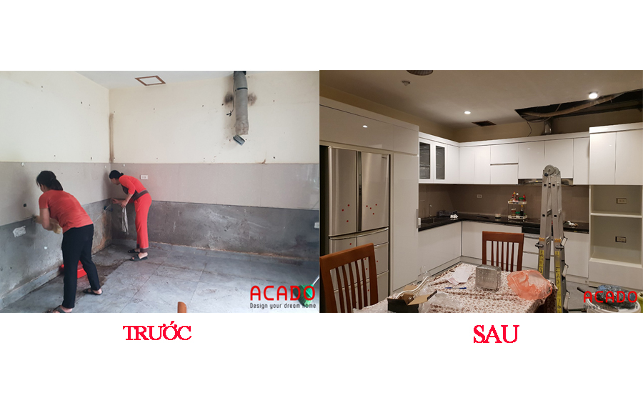 So sánh căn bếp trước và sau khi hoàn thành thi công tủ bếp.