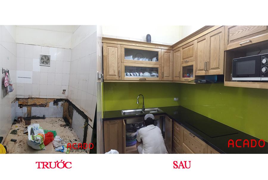 Căn bếp có một diện mạo mới hoàn toàn sau khi thi công tủ bếp.