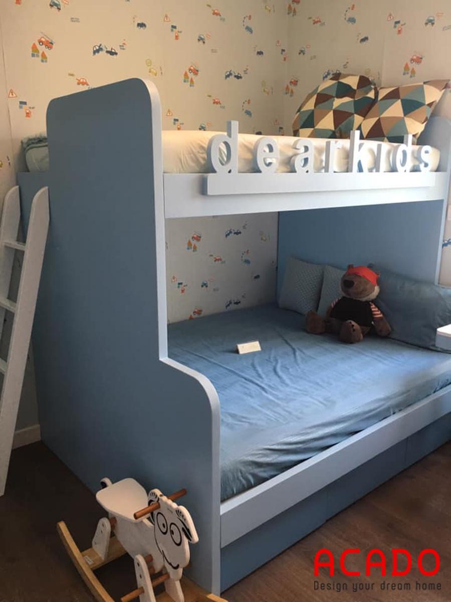 Giường tầng mau xanh cho các bé.
