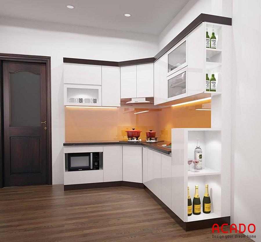 Mẫu tủ bếp màu trắng hiện đại, trẻ trung.