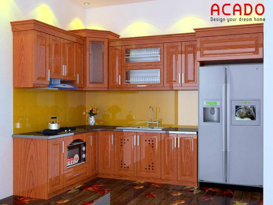 Mẫu tủ bếp được thiết kế theo dáng chữ L.