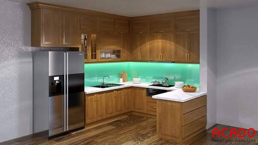 Mẫu tủ bếp được thiết kế kết hợp quầy bar.