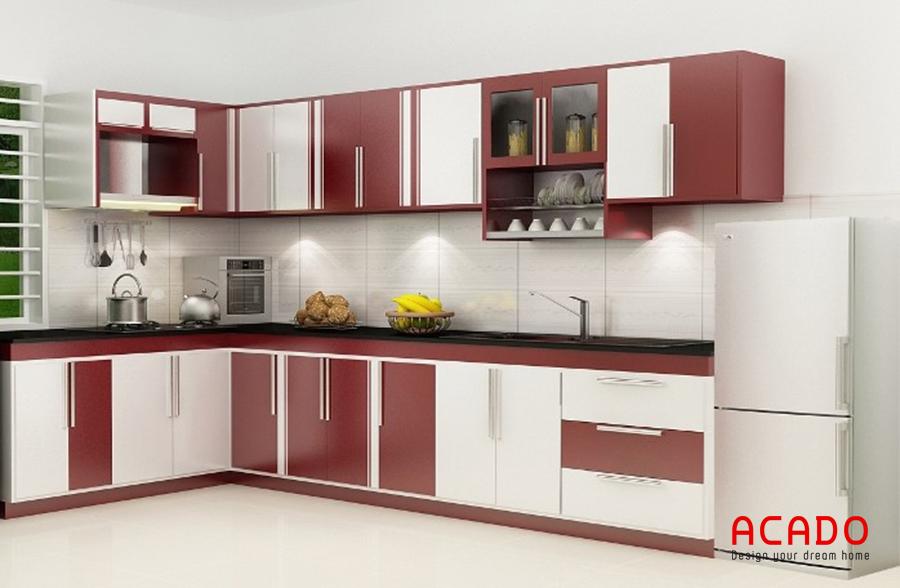 Tủ bếp cánh acrylic đẹp mắt, dễ dàng lau chùi và không bị phai màu theo thời gian.