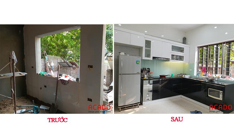 So sánh căn bếp trước và sau khi thi công tủ bếp.