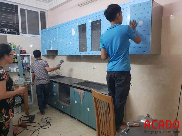 Tủ bếp inox cánh gỗ công nghiệp chống nước, chống mối mọt tuyệt đối