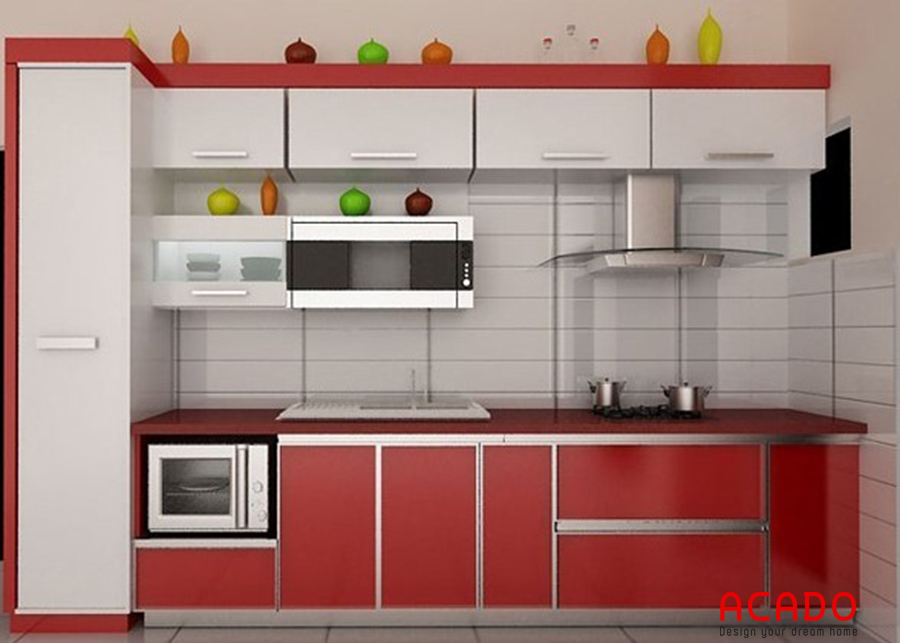 Tủ bếp dáng chữ I inox, cánh gỗ công nghiệp dễ dàng vệ sinh, nấu nướng.