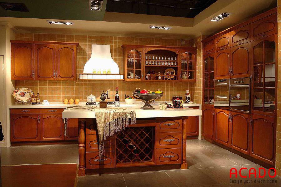 Mẫu tủ bếp sang trọng thu hút mọi ánh nhìn.