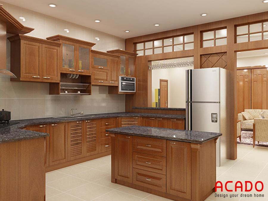 Mẫu tủ bếp kết hợp bàn đảo tiện nghi.