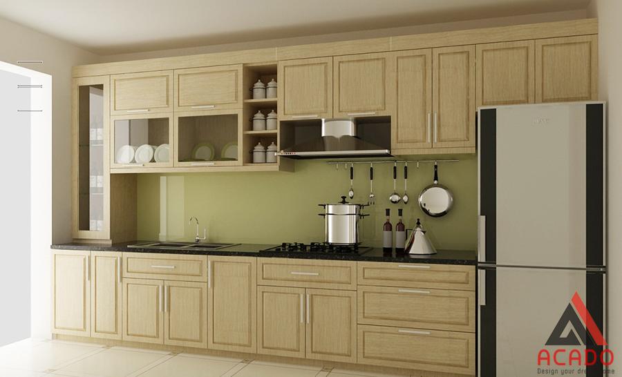 Tủ bếp gỗ sồi Mỹ với thiết kế trẻ trung, hiện đại.