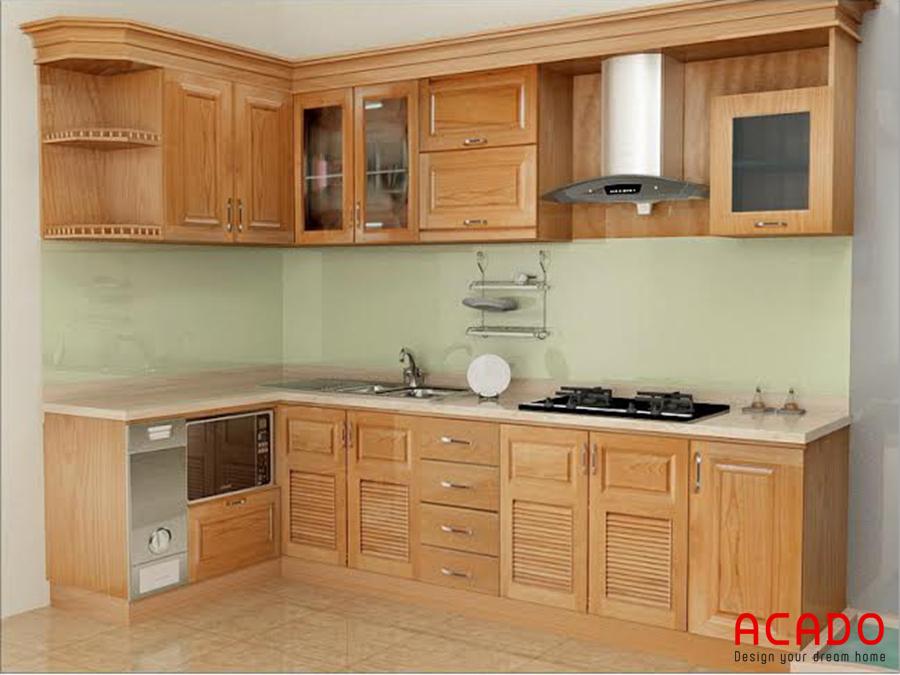 Tủ bếp gỗ sồi Mỹ với thiết kế dáng chữ L.