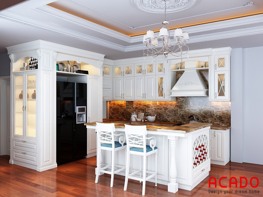 Mẫu tủ bếp tân cổ điển mang phong cách châu Âu hiện đại