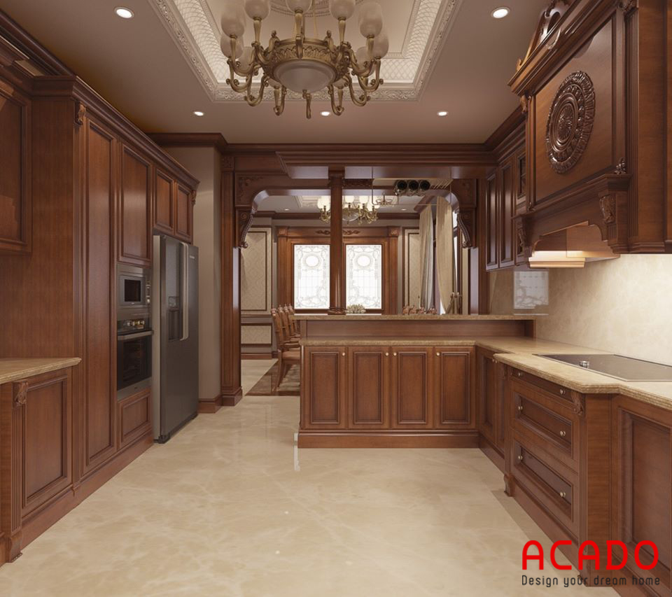 Tủ bếp gỗ tự nhiên tân cổ điển mang cảm giác ấm cúng.