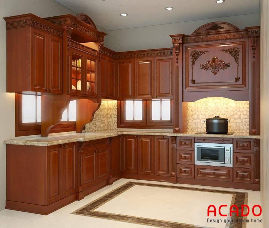 Tủ bếp dáng chữ L đẹp mắt, thuận tiện nấu nướng.