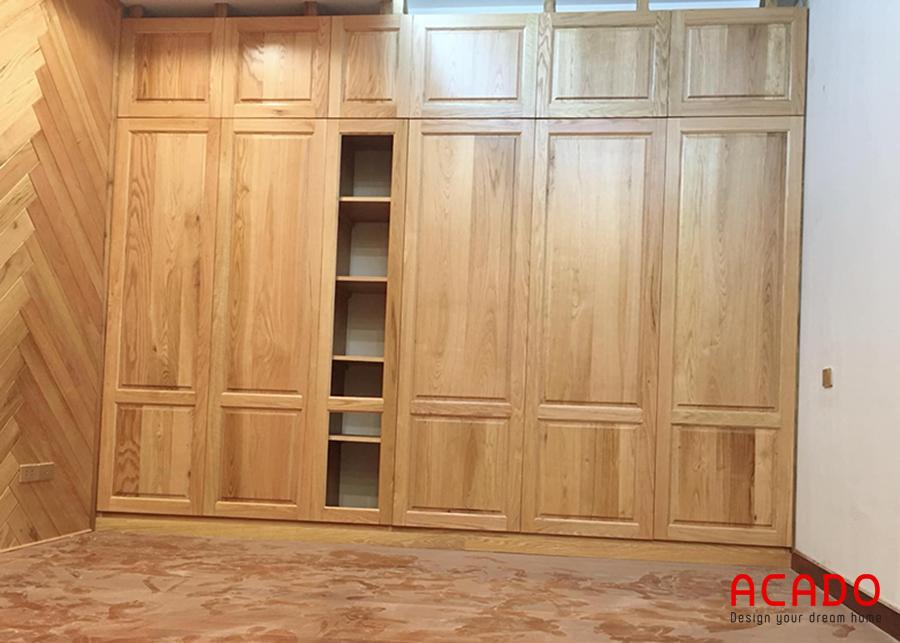 Tủ quần áo gỗ thịt 5 cánh, 3 ngăn.