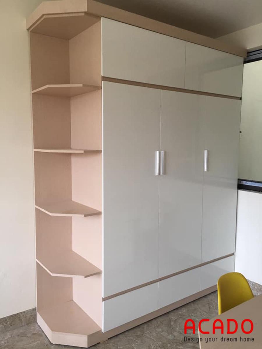 Tủ quần áo tông màu trắng hồng dễ thương.