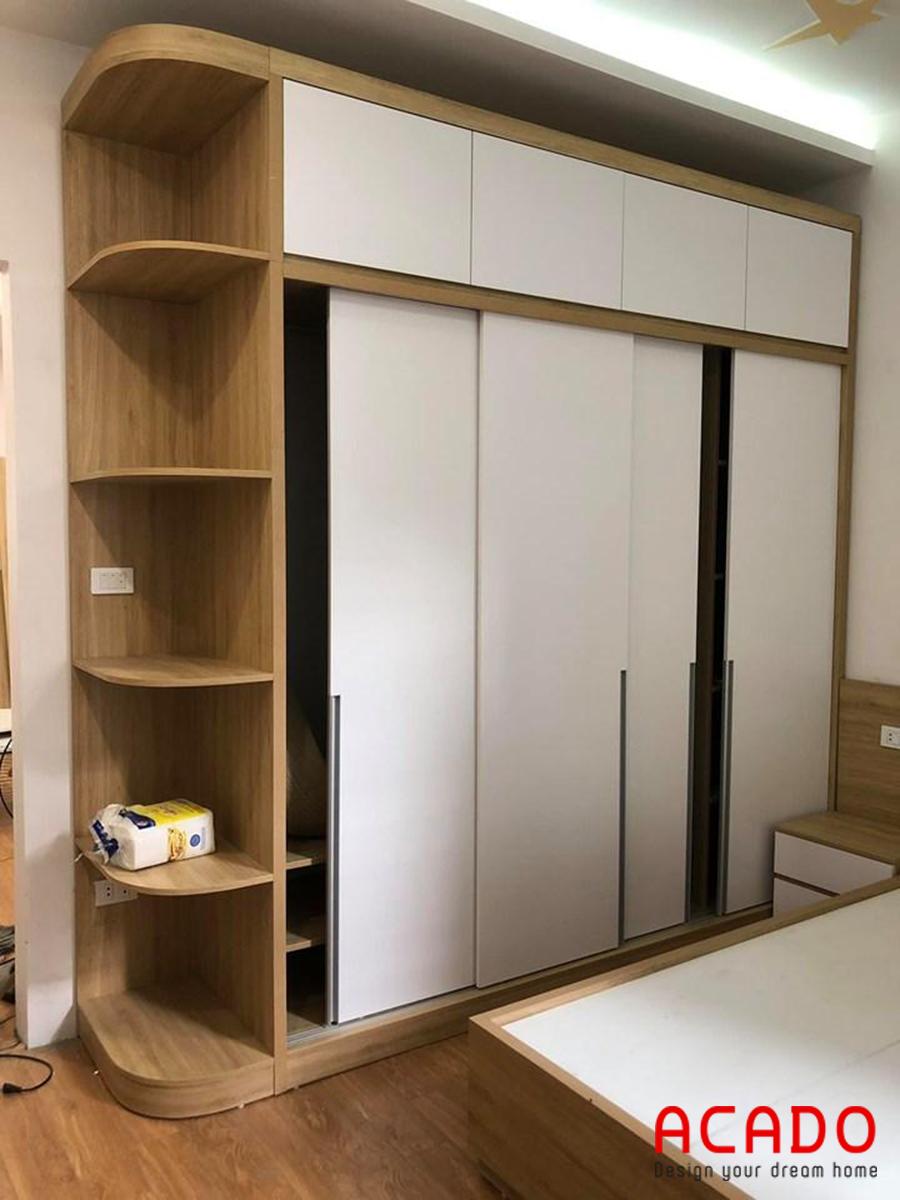 Tủ quần áo cửa lùa tiết kiệm không gian, thiết kế thông minh.