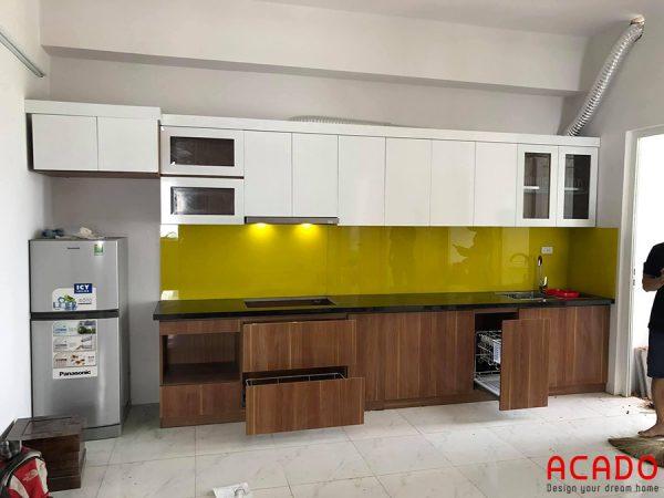 Tủ bếp Melamine - công trình Acado thi công thực tế cho khách hàng tại Hà Đông