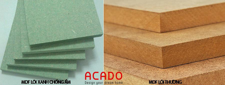 Hai loại cốt được sử dụng để làm tủ bếp gỗ công nghiệp.