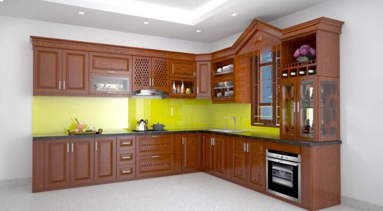 Tủ bếp vân gỗ tự nhiên màu cánh gián đẹp cổ điển, mang lại sự cấm cúng.