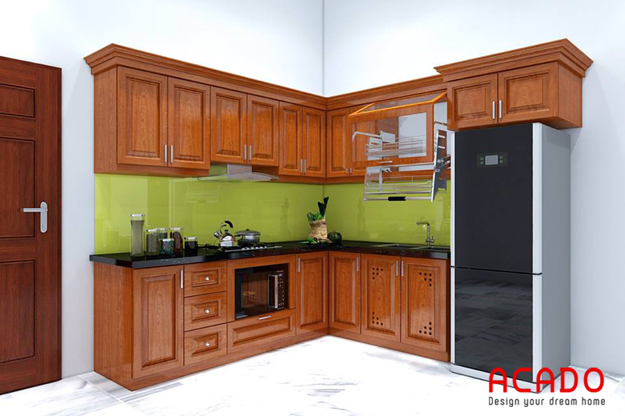 Tủ bếp vân gỗ xoan đào dáng chữ L phù hợp với những căn bếp có không gian rộng.