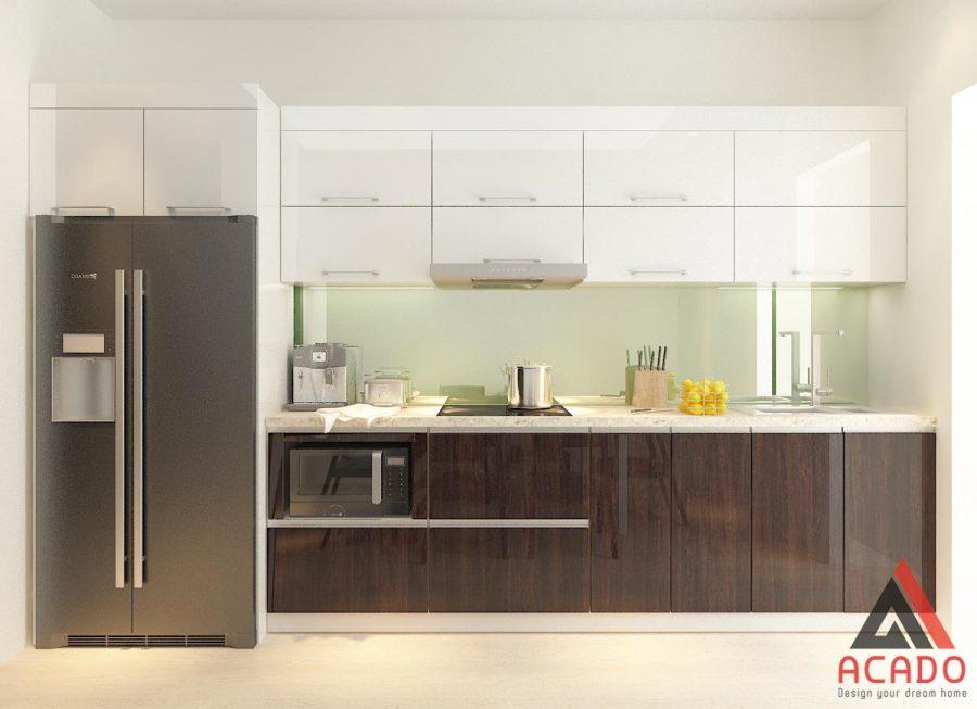 Tủ bếp công nghiệp màu vân gỗ.