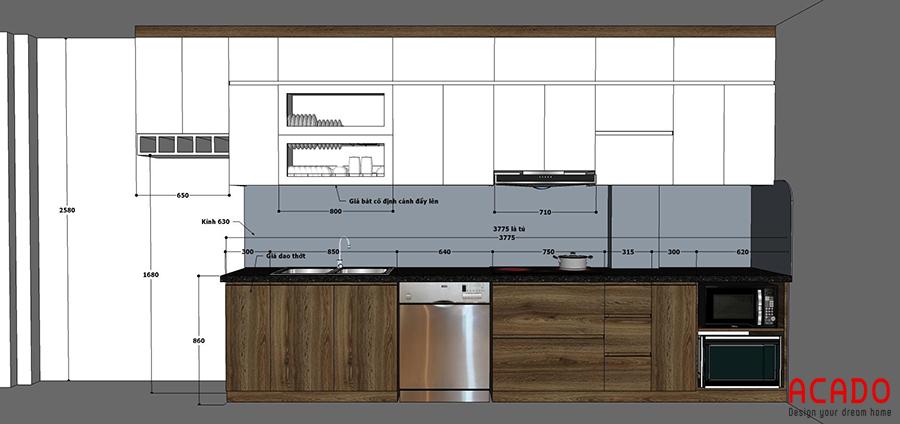 Sau khi trao đổi với anh Minh, ACADO đã lên thiết kế phù hợp nhất với căn bếp của gia đình anh.