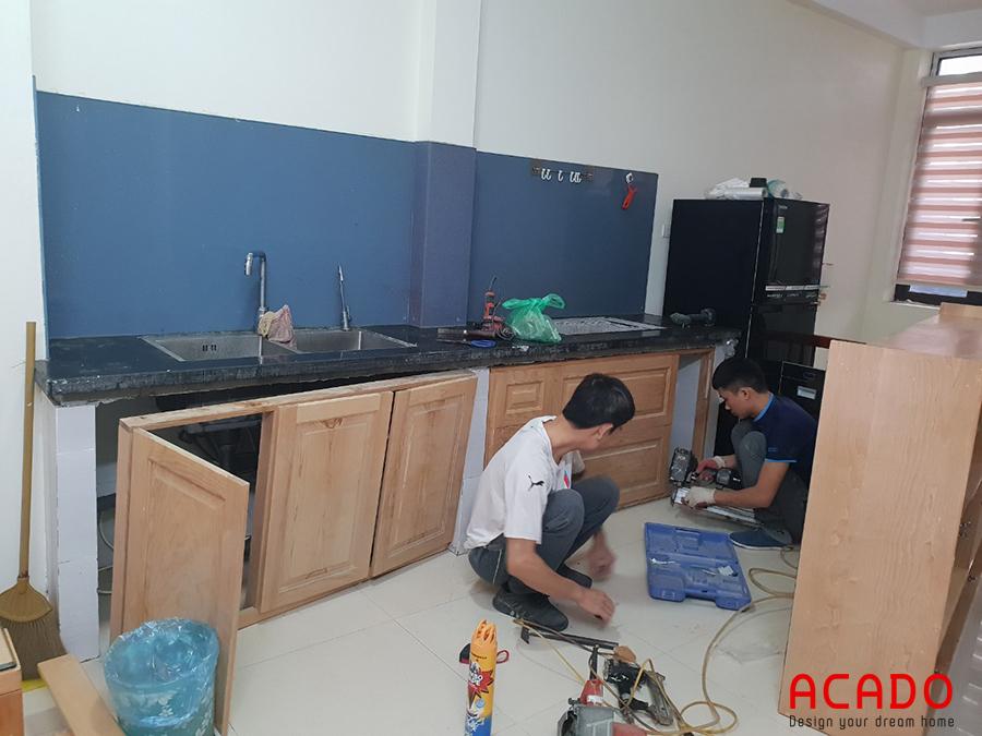 Đóng tủ bếp tại Hà Cầu.