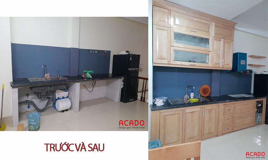 Hình ảnh trước và sau khi đóng tủ bếp.