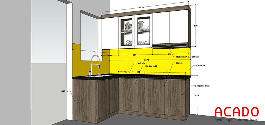 Sau khi lắng nghe ý kiến của anh Huy, ACADO đã lên thiết kế tủ bếp cho gia đình anh.