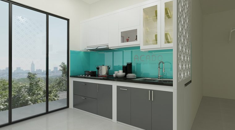 Tủ bếp Picomat chất liệu thùng tủ nhựa Picomat, cánh Acrylic bóng gương - tủ bếp nhỏ đẹp tại ACADO
