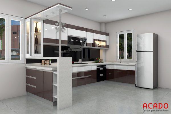 Tủ bếTủ bếp Laminate màu caffe thiết kế hiện đại, sang trongp Laminate màu caffe nhẹ nhàng, thanh lịch