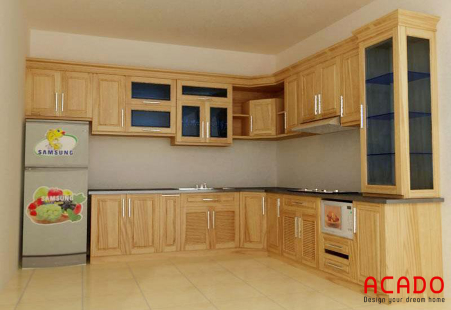 Tủ bếp gỗ sồi dáng chữ L phù hợp với nhà bếp có không gian rộng dãi