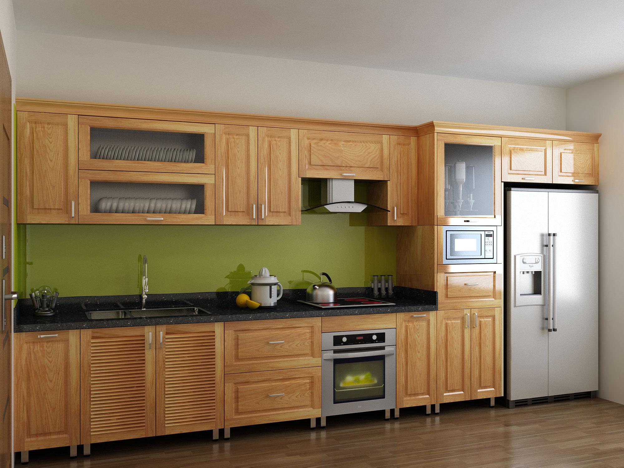 Tủ bếp gỗ tự nhiên nhỏ dành cho chung cư tại nội thất Acado.