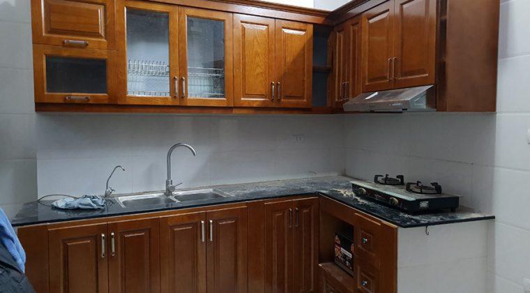 Hình ảnh tủ bếp của nhà anh Quang sau khi đã hoàn thiện.