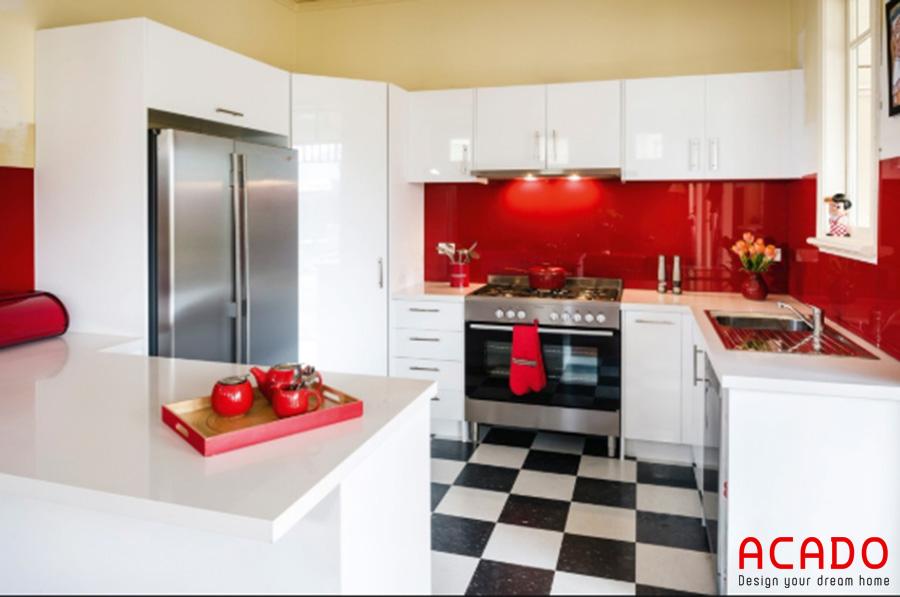 Kính bếp màu đỏ cho người mệnh Hỏa - nội thất Acado cung cấp kính bếp hợp phong thủy, giá rẻ nhất Hà Nội.