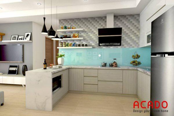 Với không gian bếp rộng thì mẫu tủ bếp Laminate hình chữ U này là lựa chọn hoàn hảo