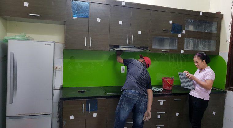 Cận cảnh hình ảnh tủ bếp nhà chú Quân - Đống Đa đã hoàn thiện.