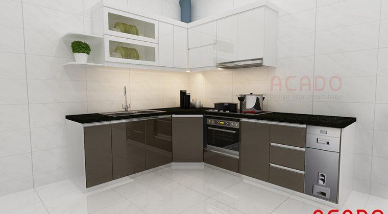 Tủ bếp gỗ công nghiệp Acrylic kiểu dáng hiện đại tạo cảm giác hứng thú cho các bà nội trợ khi vào bếp