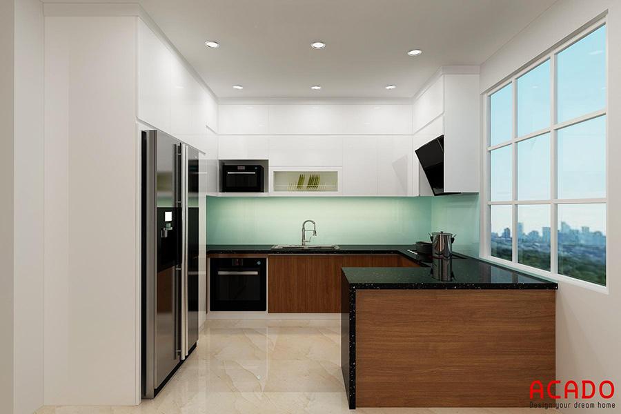 Tủ bếp gỗ công nghiệp Melamine trắng kết hợp vân gỗ dáng chữ U sang trọng cho căn bếp rộng dãi