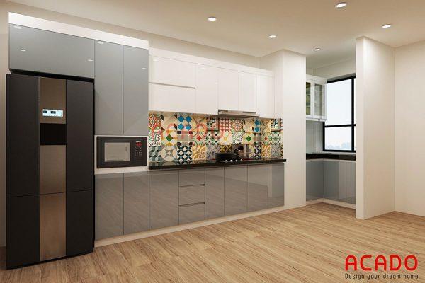 Tủ bếp gỗ công nghiệp Acrylic tone màu ghi sang trọng, hiện đại