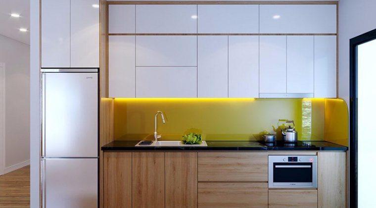 Tủ bếp chất liệu Melamine thiết kế đơn giản tinh tế