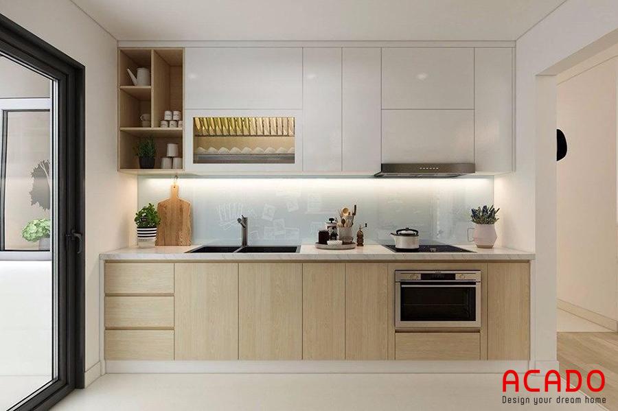 Tủ bếp Laminate dáng chữ I nhỏ gọn, sang trọng - tủ bếp nhỏ gọn tại ACADO