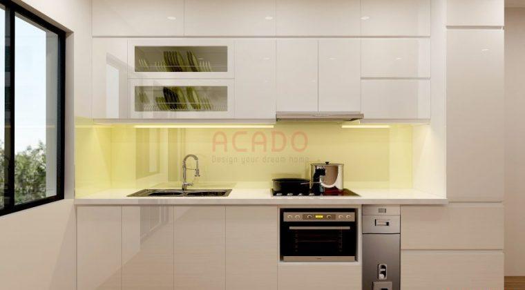 Tủ bếp trắng với phụ kiện nhà bếp thông minh