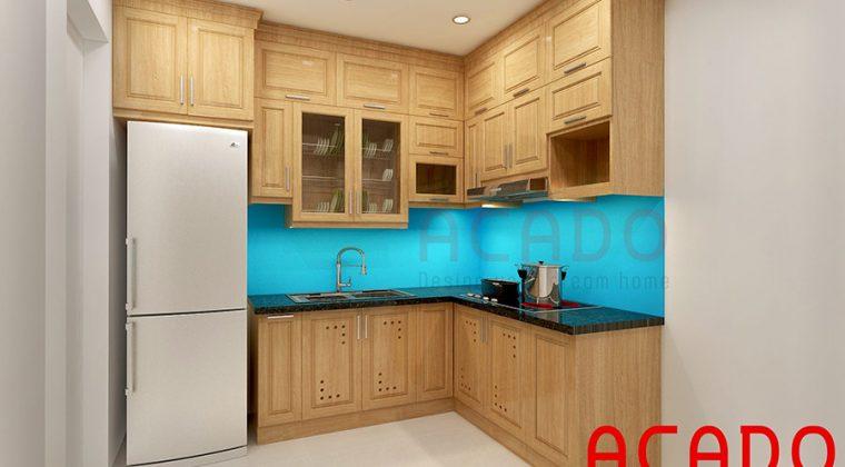 Tủ bếp gỗ sồi nga đẹp, hiện đại sử dụng kính bếp màu xanh dương