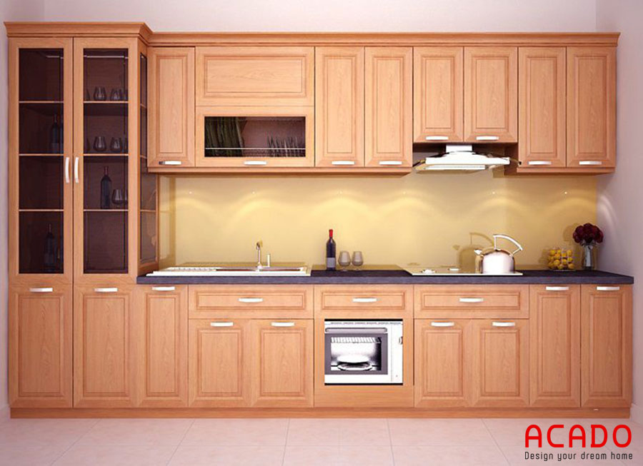 Tủ bếp chữ I chất liệu gỗ sồi đẹp, hiện đại cho không gian nhà bạn