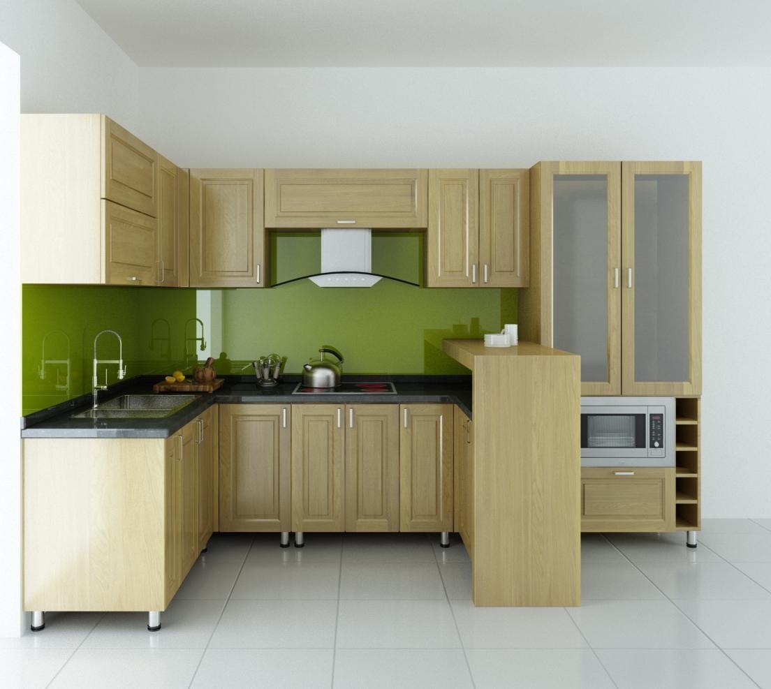 Tủ bếp inox 304, kết hợp cánh gỗ tự nhiên ấm cúng, sang trọng