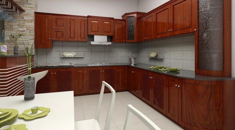 Tủ bếp gỗ xoan đào màu cánh gián đậm - Nội thất Acado
