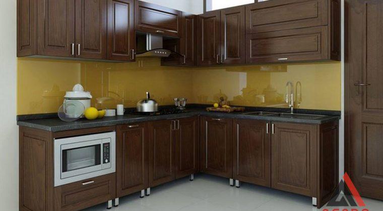 Tủ bếp chất liệu thùng inox 304 cánh gỗ tự nhiên phun màu óc chó sang trọng, ấm cúng